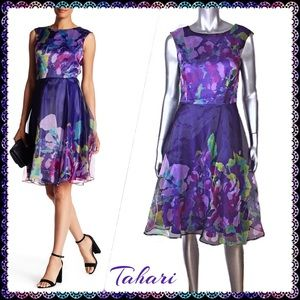 Tahari Organza Purple Floral Fit & Flare Dress 6
